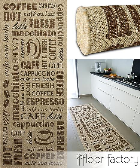 floor factory Tapis de Cuisine Coffee Time beige 80x200 cm - tapis de  couloir pas cher