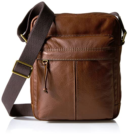 Fossil Men's Defender Small Messenger, Brown