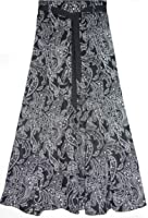 Ladies Womens LINEN Skirt skater panels 36 Inch Long Floral Printed Fabric 8 panelled Elasticated Waist Size 10 to 24