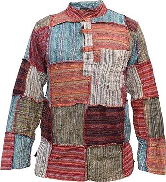 Little Kathmandu Hombres Algodón Patch Grandad Verano Hippie Kurta Camisa: Amazon.es: Ropa y accesorios