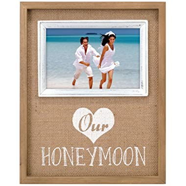 Malden International Designs Burlap Wall Sentiments Silkscreened  Our Honeymoon  Picture Frame, 4x4, Tan