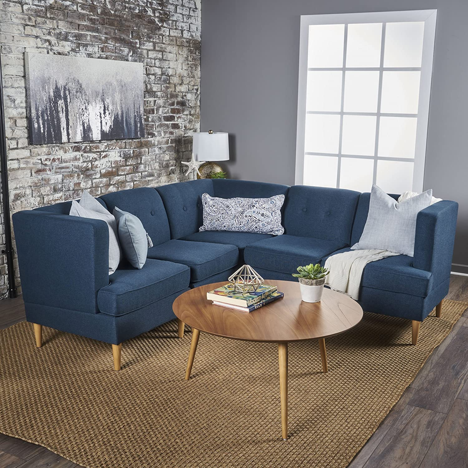 Milltown 5pc mid century tufted modular sectional sofa with birch wood legs comfortable convertible interlocking danish modern furniture set navy blue