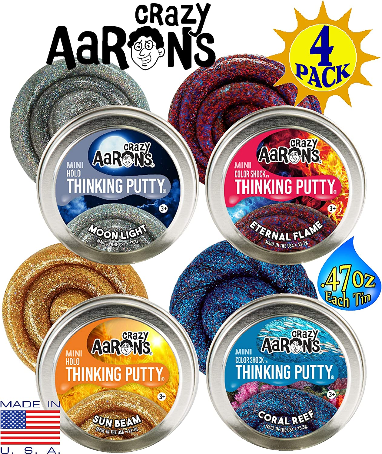 Crazy Aaron's Thinking Putty Color Shock & Holo Mini Tins (.47oz Each) Sun Beam, Coral Reef, Eternal Flame & Moonlight Gift Set Bundle - 4 Pack