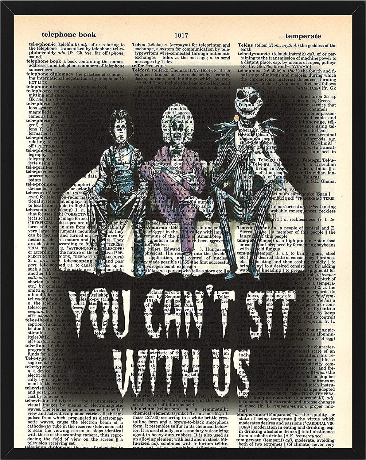 You Can't Sit With Us Wall Decor Featuring Tim Burton Characters Edward Scissorhands, Beetlejuice and Jack Skellington Dictionary Art 8 x 10 Print