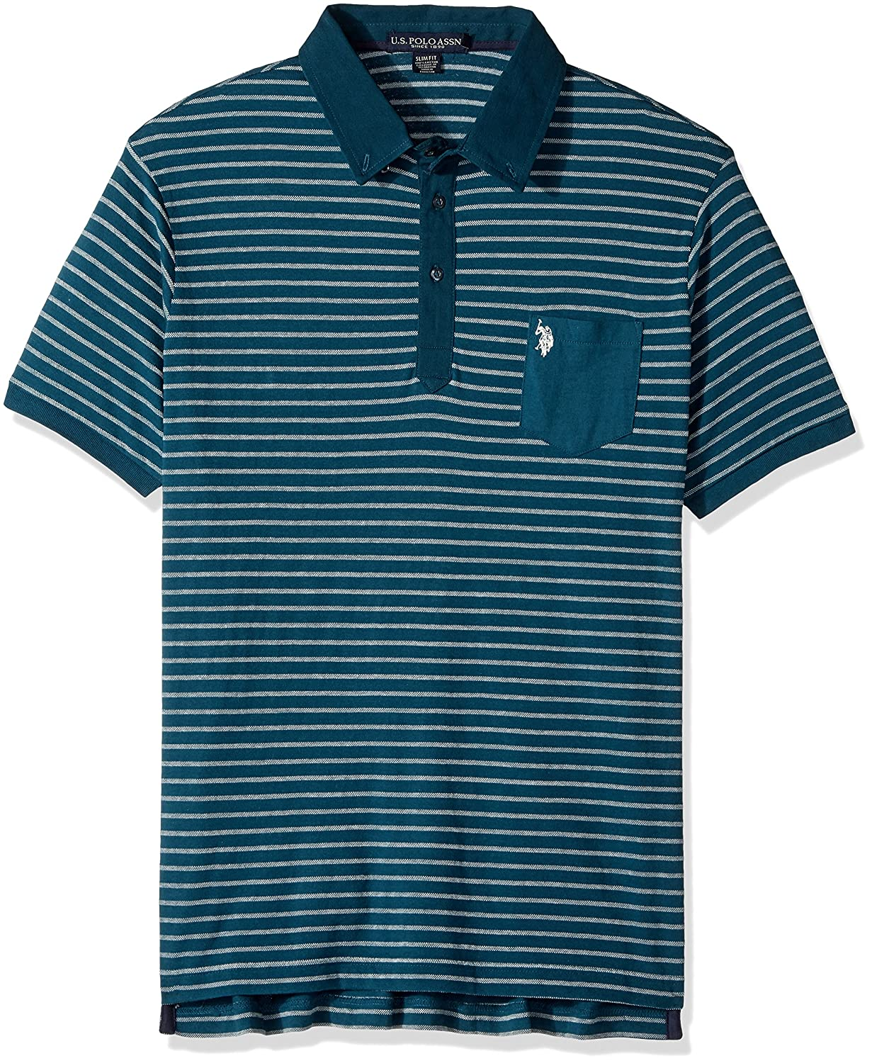 U.S. Polo Assn. Mens Standard Slim Fit Striped Short Sleeve Pique Polo Shirt