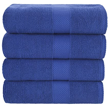 Bath Towels Blue 4-Piece Set - 100% Cotton Luxury Quick Dry Turkish Towels
