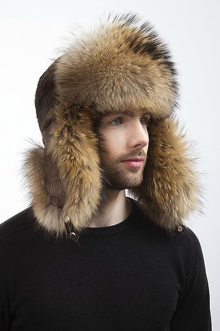 Amazon.com  Raccoon and Sheared Beaver Furs Full Ushanka Hat Saga Furs For  a Mens  Everything Else d0ba1918babb
