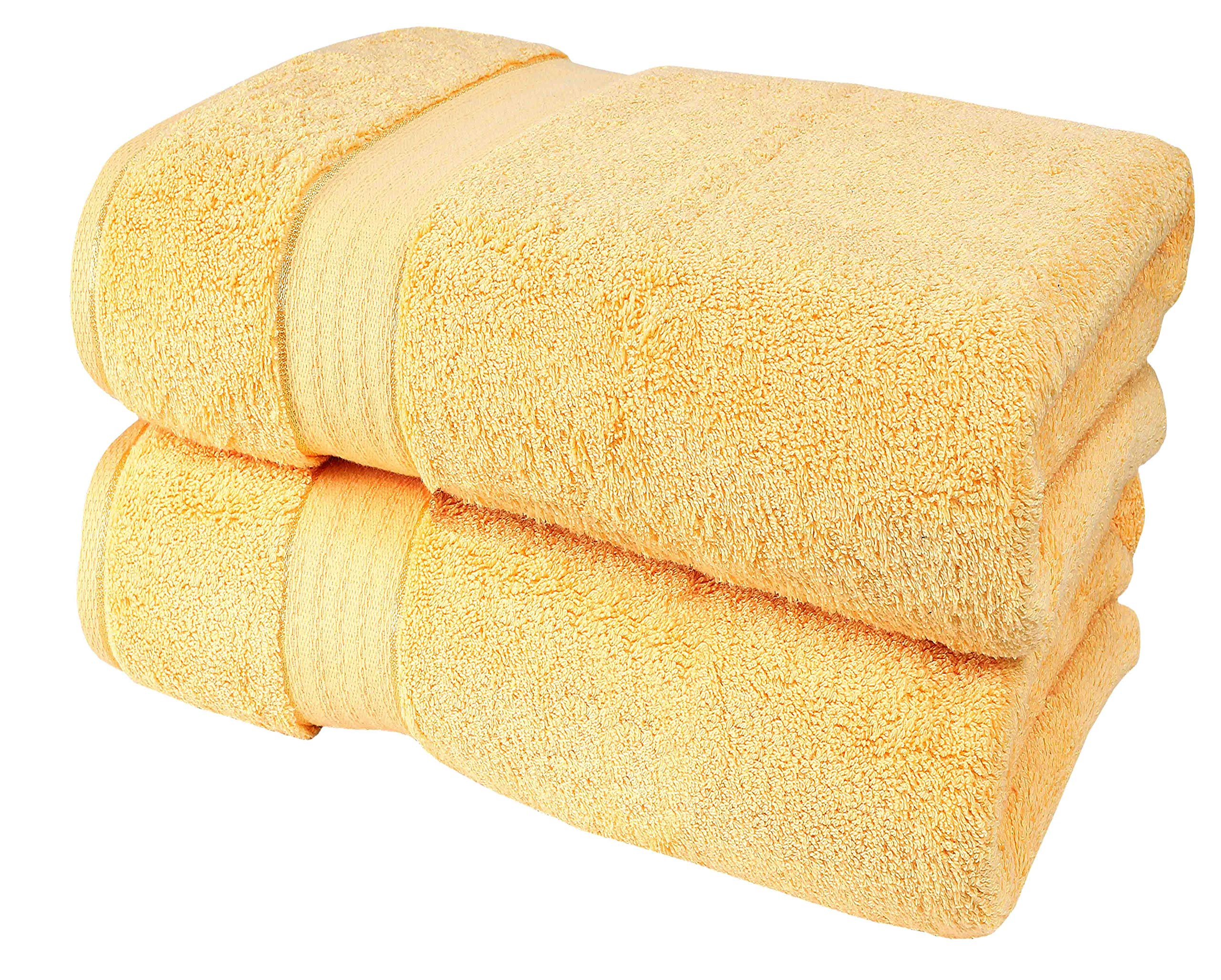 Glamburg 700 GSM Premium Cotton 2-Pack Oversized Extra Large Bath Sheet Set - 100% Combed Cotton - 2 Bath Sheets 35x70 - Luxury Hotel & Spa Quality - Durable Ultra Soft Highly Absorbent - Yellow