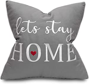Rudransha Lets Stay Home 18x18 Embroidered Square Accent Throw Pillow Cover - Medium Grey