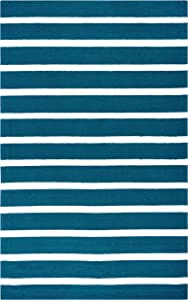 Rizzy Home Azzura Hill Collection Polypropylene Area Rug, 8' Round, Marine Blue/Ivory