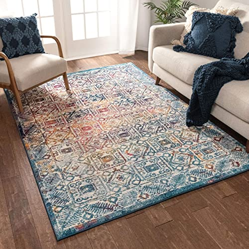 "Well Woven Imani Boho 8x11 7'10"" x 9'10"" Area Rug Terrace Blue Fuchsia Distressed Traditional Vintage Floral Oriental Panel"