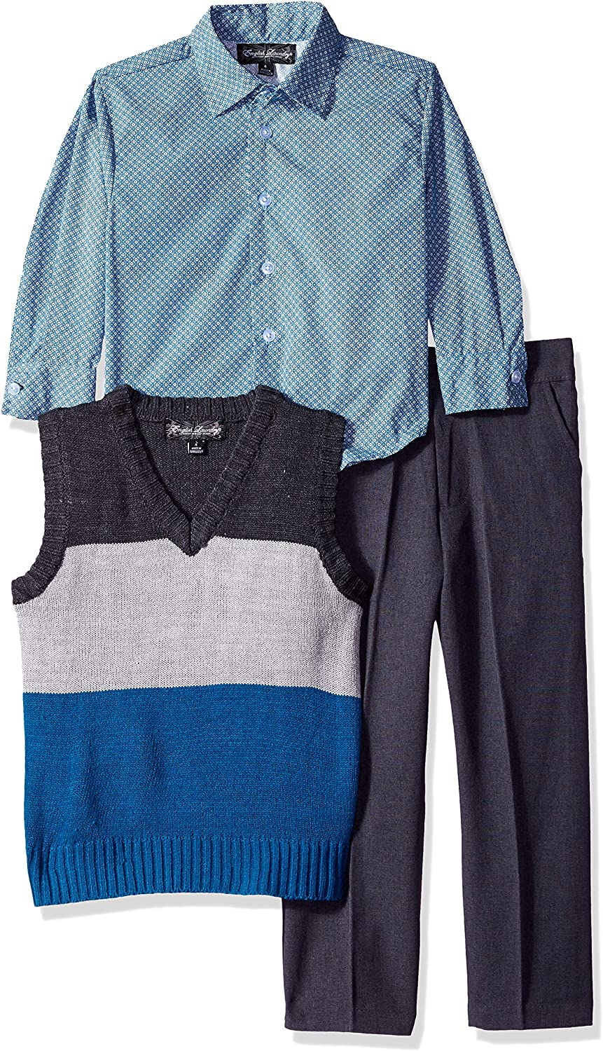 English Laundry Boys' Little 3 Piece Wide Stripe Sweater Vest, Sport Shirt and Pant Set