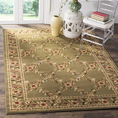 Safavieh Lyndhurst Collection LNH557-5252 Traditional Floral Trellis Green Area Rug 4 x 6