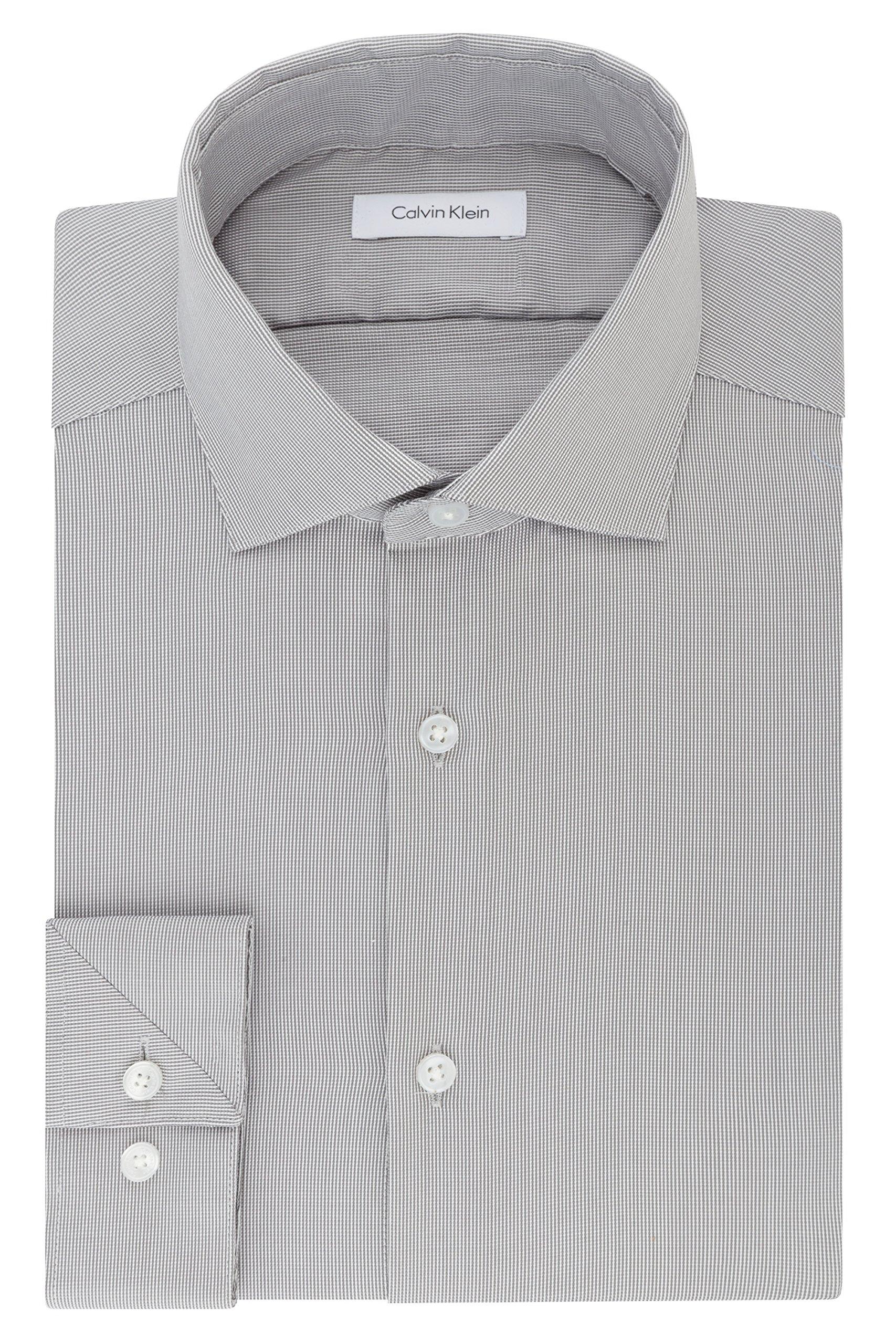 Calvin Klein Men's Non Iron Stretch Slim Fit Unsolid Solid Dress Shirt, Smokey Grey, 16'' Neck 32''-33'' Sleeve