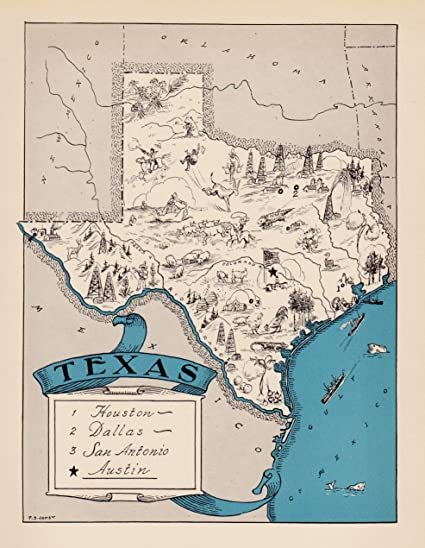 Amazon Com Plaindealing Vintage Texas Picture Map 1930s Blue