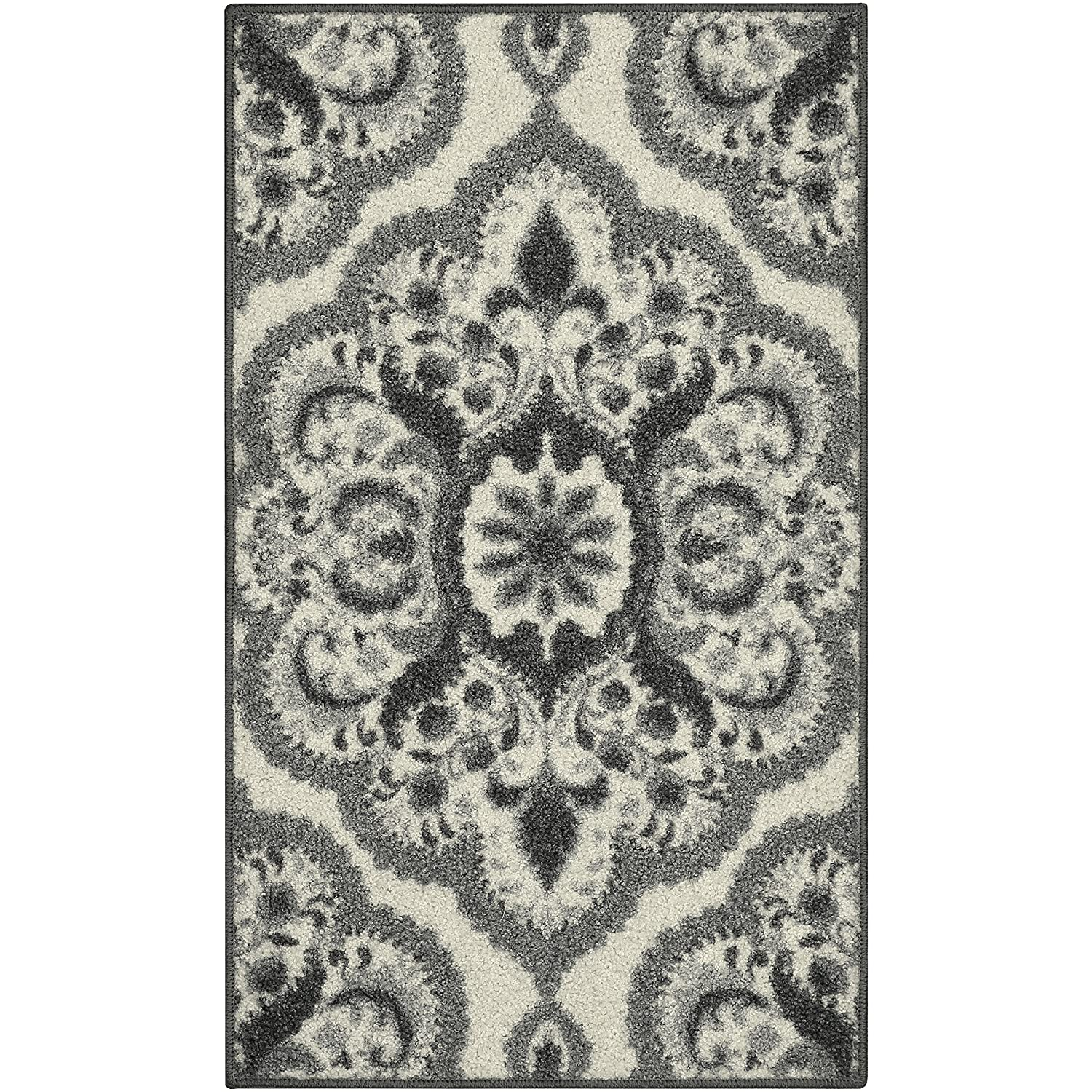 Maples Rugs Kitchen Rug - Vivian 2 x 3 Non Skid Small Accent Throw Rugs [Made in USA] for Entryway and Bedroom, 1'8 x 2'10, Grey