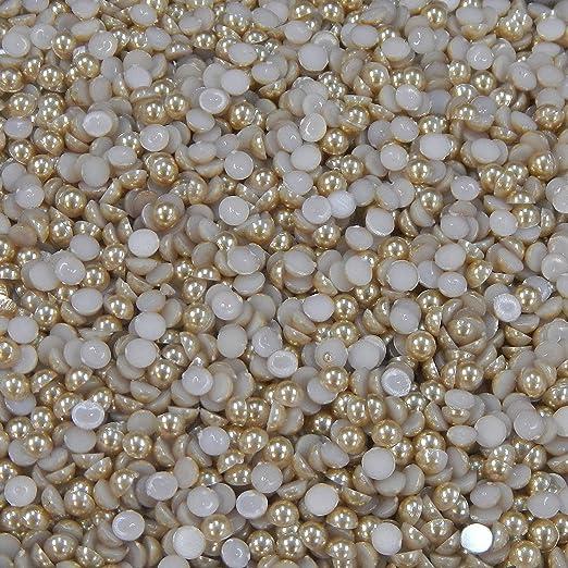 5mm or 6mm Lemon 4mm 1000 Acrylic Flat Back Half Pearls 3mm