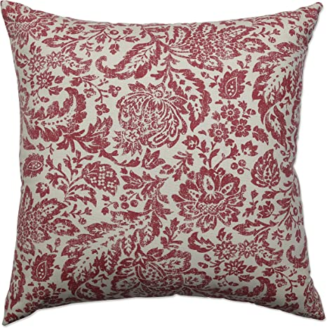Pillow Perfect Damask Decorative Square Floor Pillow 24 5 Inch By 24 5 Inch Red Tan Home Kitchen