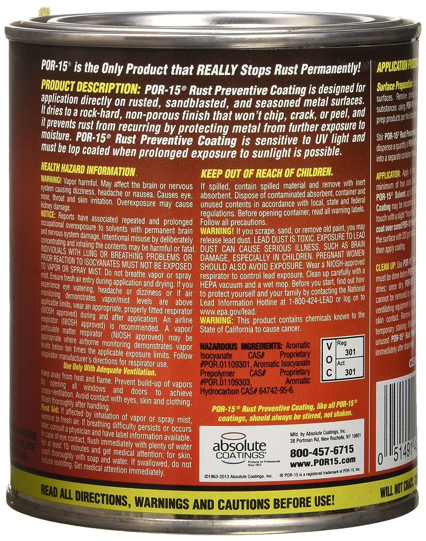 Por15 Where To Buy >> Por 15 45004 Gloss Black Rust Preventive Paint 1 Quart