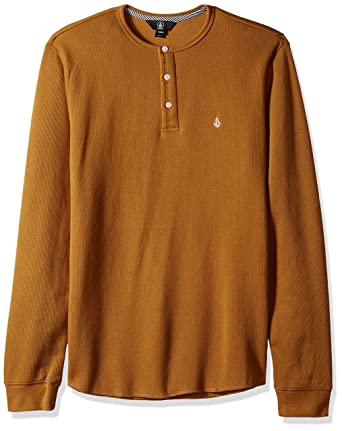 32498799 Volcom Men's Layer Stone Long Sleeve Modern Knit Henley Shirt, Old Gold  Extra Small