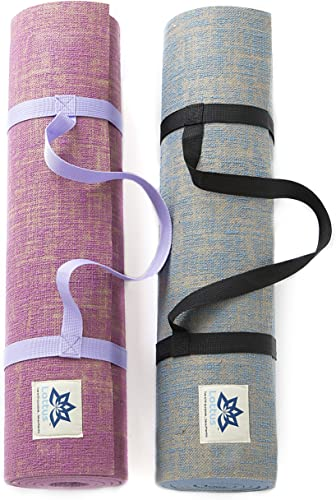 Lottus Life Natural Jute Fiber Premium Yoga Exercise Mat with Strap Extra Thick 8mm Mat – Eco-Friendly – Extra Long 72 – Unique Designer Colors Memory Foam-Like