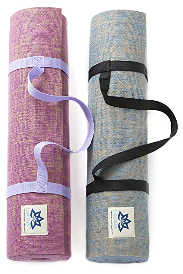 Lottus Life Natural Jute Fiber Premium Yoga/Exercise Mat w/Strap – Extra Thick 8mm – Eco-Friendly – Best Yoga Mat for Pilates, Gym, Workout, Home – ...