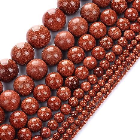 """15/""""Natural Gold Sand Round Gem Loose Spacer Beads Strand Bracelet Finding 4-10mm"""