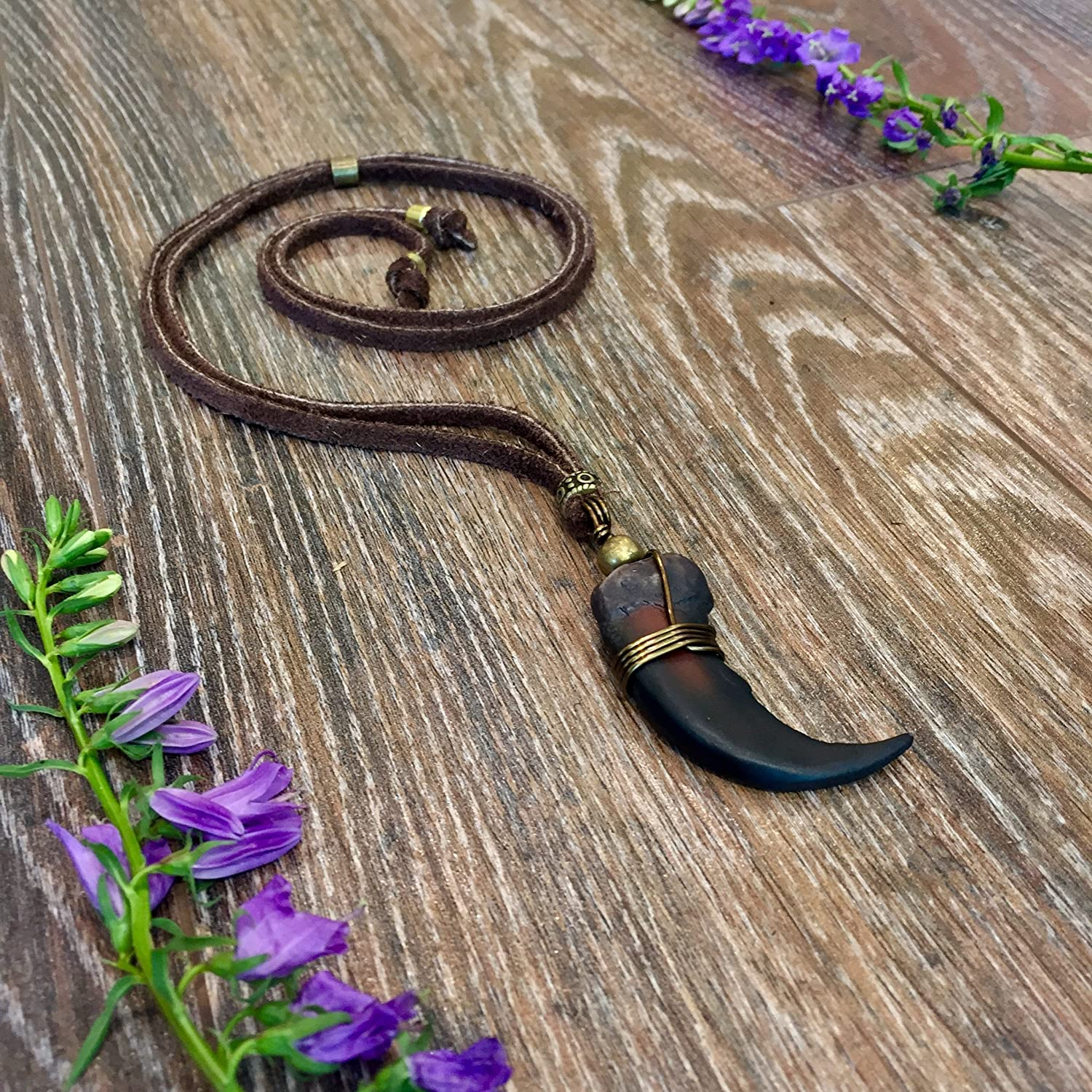 Grizzly Bear Claw Leather Necklace BOHO Tribal Pendant