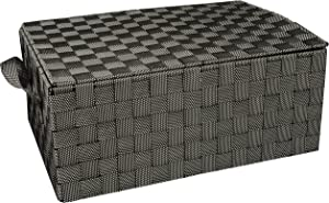 Honey-Can-Do OFC-03710 Hinged Lid Double Woven Storage Box with Handles, 12 by 17 by 7-Inch, Salt/Pepper