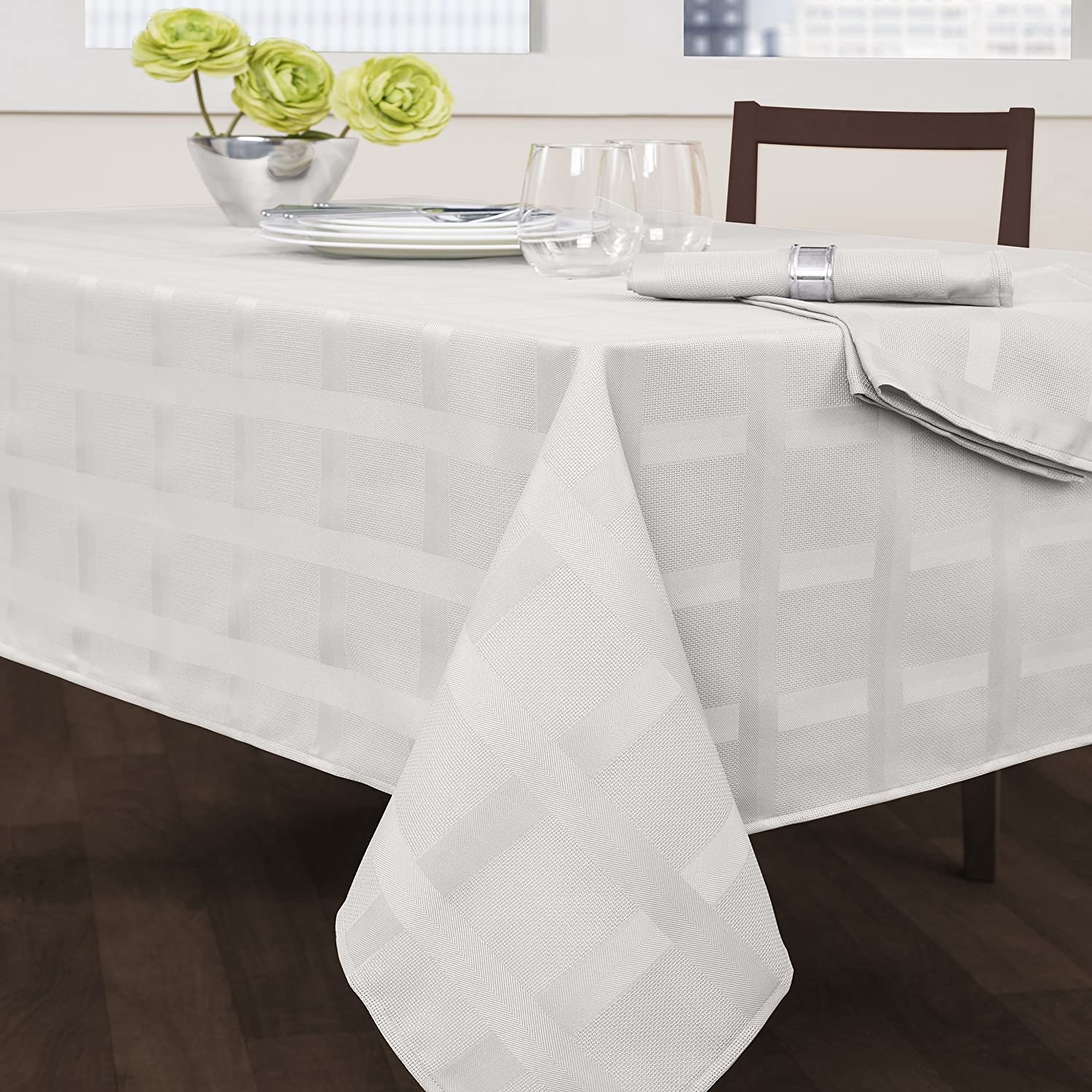 Creative Dining Group Maison Fabric Tablecloth, 52 x 70-Inch, White 450037