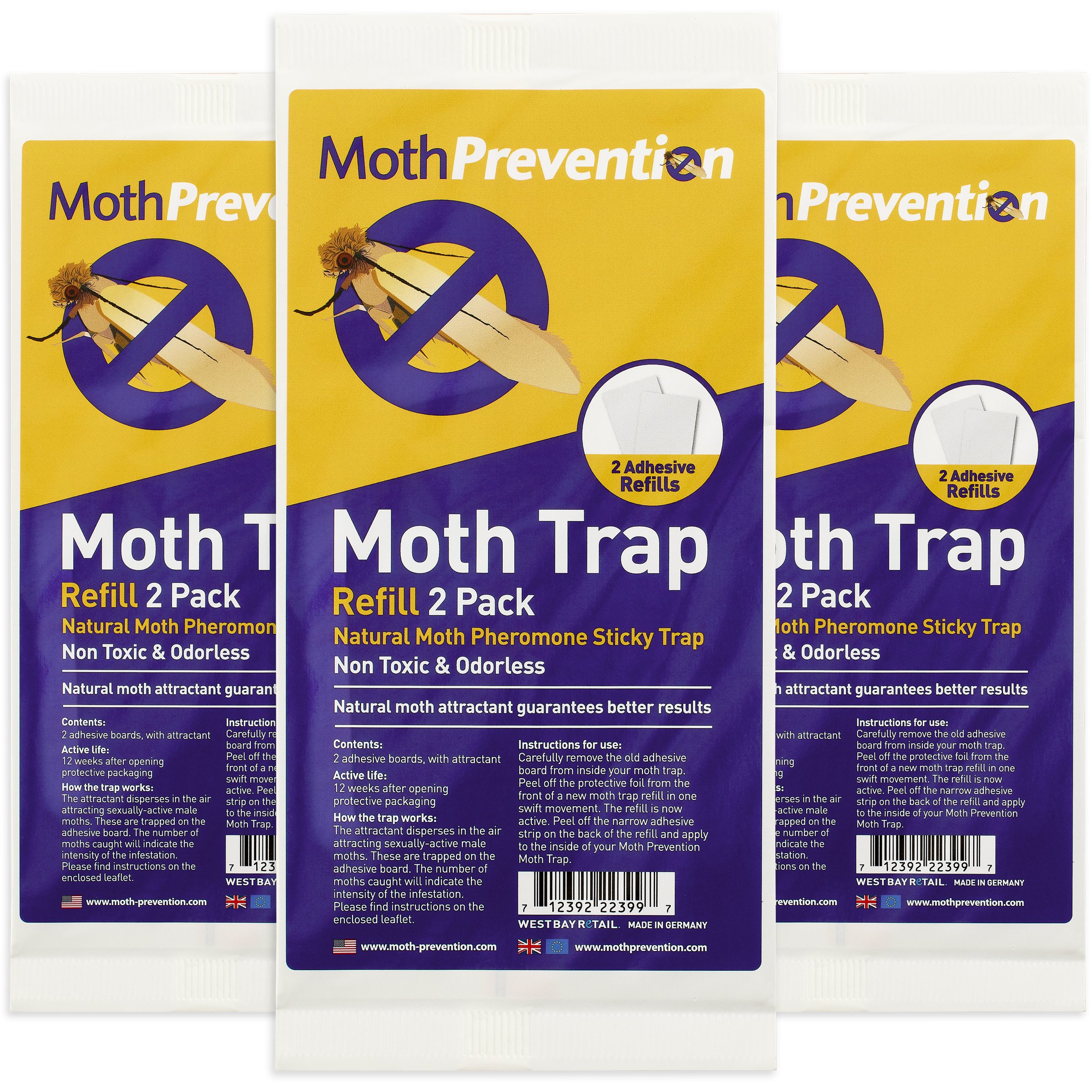 West Bay Retail POWERFUL MOTH TRAP Replacement Strips (6 Strips in Total) MothPrevention Clothes Moth Traps