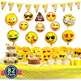 Melonboat Emoji Party Supplies 82 ct Birthday Decorations Kit, Face Cards, Foil Balloons, Tablecloth, Cupcake Toppers, Paper Plates, Straw Decor, Invitation Cards, Happy Birthday Banners, Bulk Pack