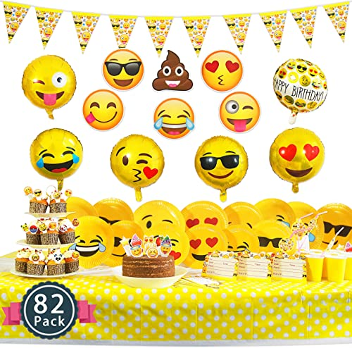 Melonboat Emoji Party Supplies 82 Ct Birthday Decorations Kit Face Cards Foil Balloons Tablecloth Cupcake Toppers