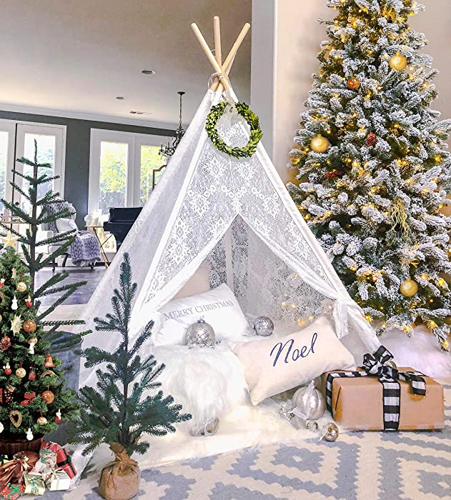 Kids Teepee Tent for Girls, Sheer Lace Indoor and Outdoor Canopy and Creative Play Space | White Room Decor | Bohemian Theme Lace