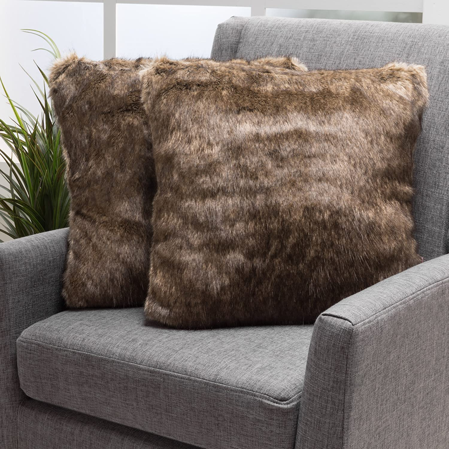 GDF Studio 299802 There's Nothing Quite Like the Feel and Feather-Soft Faux Fur Decorative Pillows for a Couch Add a Nice Touch to Your Living Room Dé Thes Dark Brown Fabric Throw (Set of 2) | Ideal Bedroom