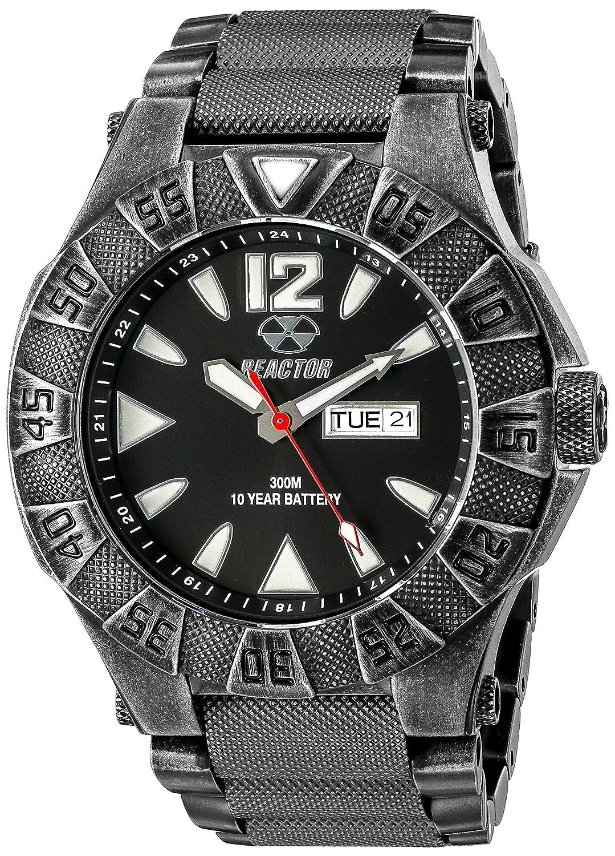 Reactor 53601 Herren Strainless Stahl schwarz Armband Band schwarz Zifferblatt Uhr