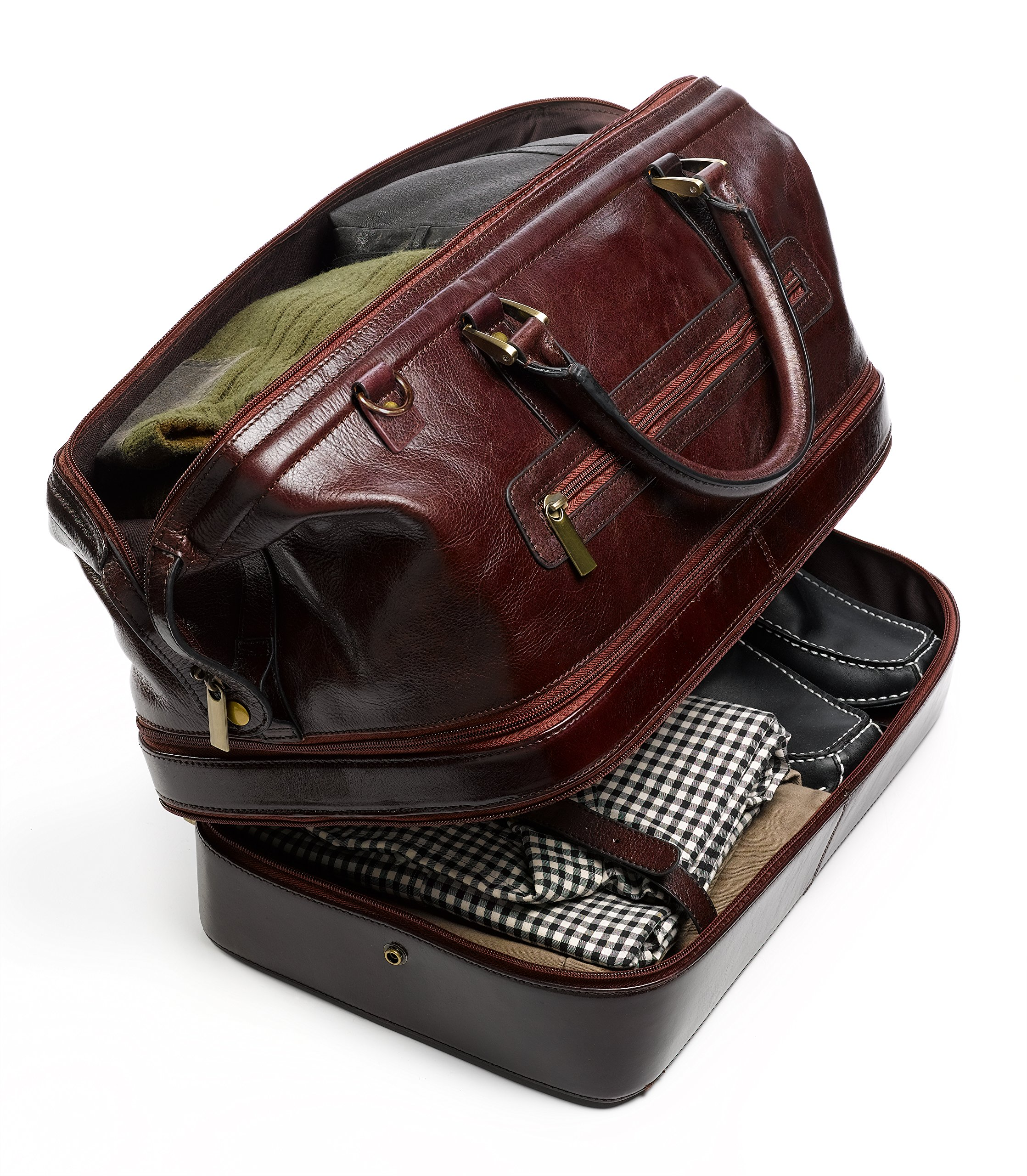 Leather Duffel Bag Weekender Travel Luggage with Shoe Compartment
