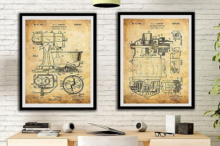 Amazon.com: Mixer Patent Art Prints Vintage Set Kitchen Decor Chef ...