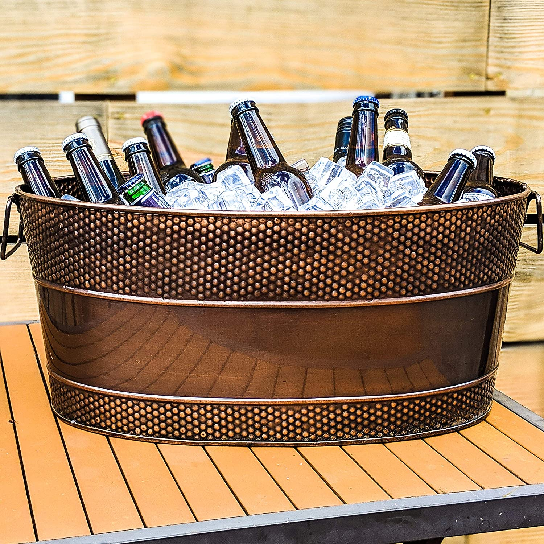 Weddings Anniversary BREKX Aspen Copper Finish Hammered Beverage Tub for Parties Housewarming Gifts- 25-Quart Registry