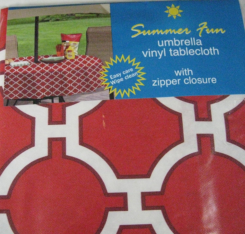 """UMBRELLA VINYL TABLECLOTHS   w// ZIPPER CLOSURE Assorted Designs  70/"""" Round"""