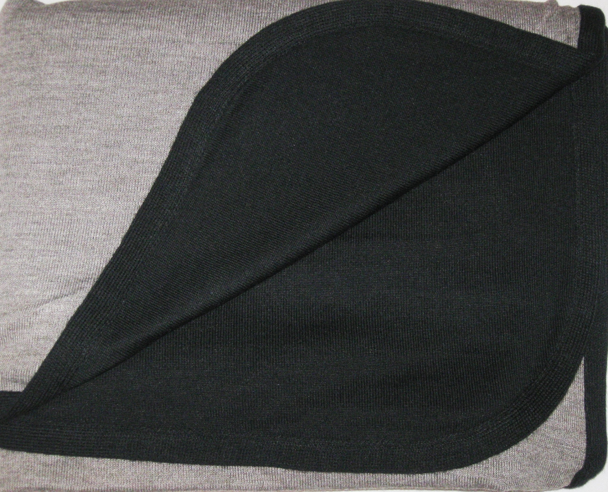Cashmere Pashmina Group- Cape Woolen Reversible Ruana Knitted Poncho Shawl Cardigans Sweater Coat (Black/ Stone) by Cashmere Pashmina Group (Image #2)