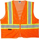 Radians SV22-2ZOM-XL Polyester Mesh Economy Class 2 High Visibility Zipper Closure Vest with Two-Tone Trim, X-Large, Orange