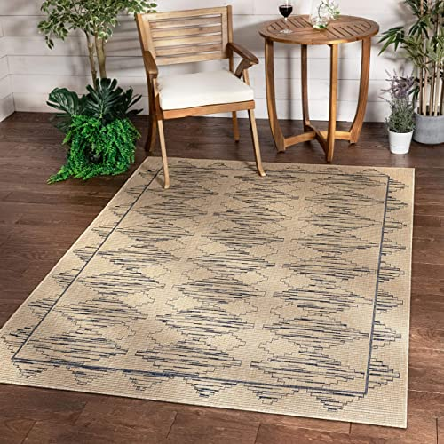 Well Woven Sturl Beige Blue Indoor Outdoor Flat Weave Pile Nordic Diamond Pattern Area Rug 8×10 7 10 x 9 10