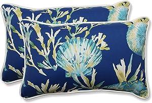 "Pillow Perfect 592831 Outdoor/Indoor Daytrip Pacific Lumbar Pillows, 11.5"" x 18.5"", Blue, 2 Pack"