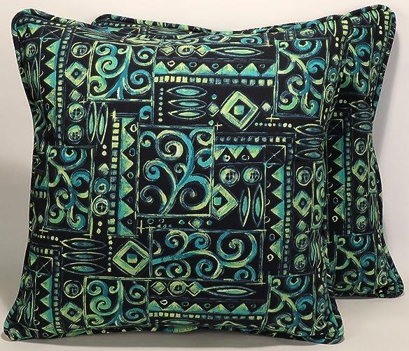 Amazon A Set Of 40 40 Outdoor Fabric Navy Blue Aqua Green Best Blue And Green Decorative Pillows