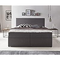 Furniture for Friends Möbelfreude® BIANCA | 140x200 cm Anthrazit H2 | mit Bettkasten & Hochwertiger Bonell Federkernmatratze | Polsterbett Boxspringbett