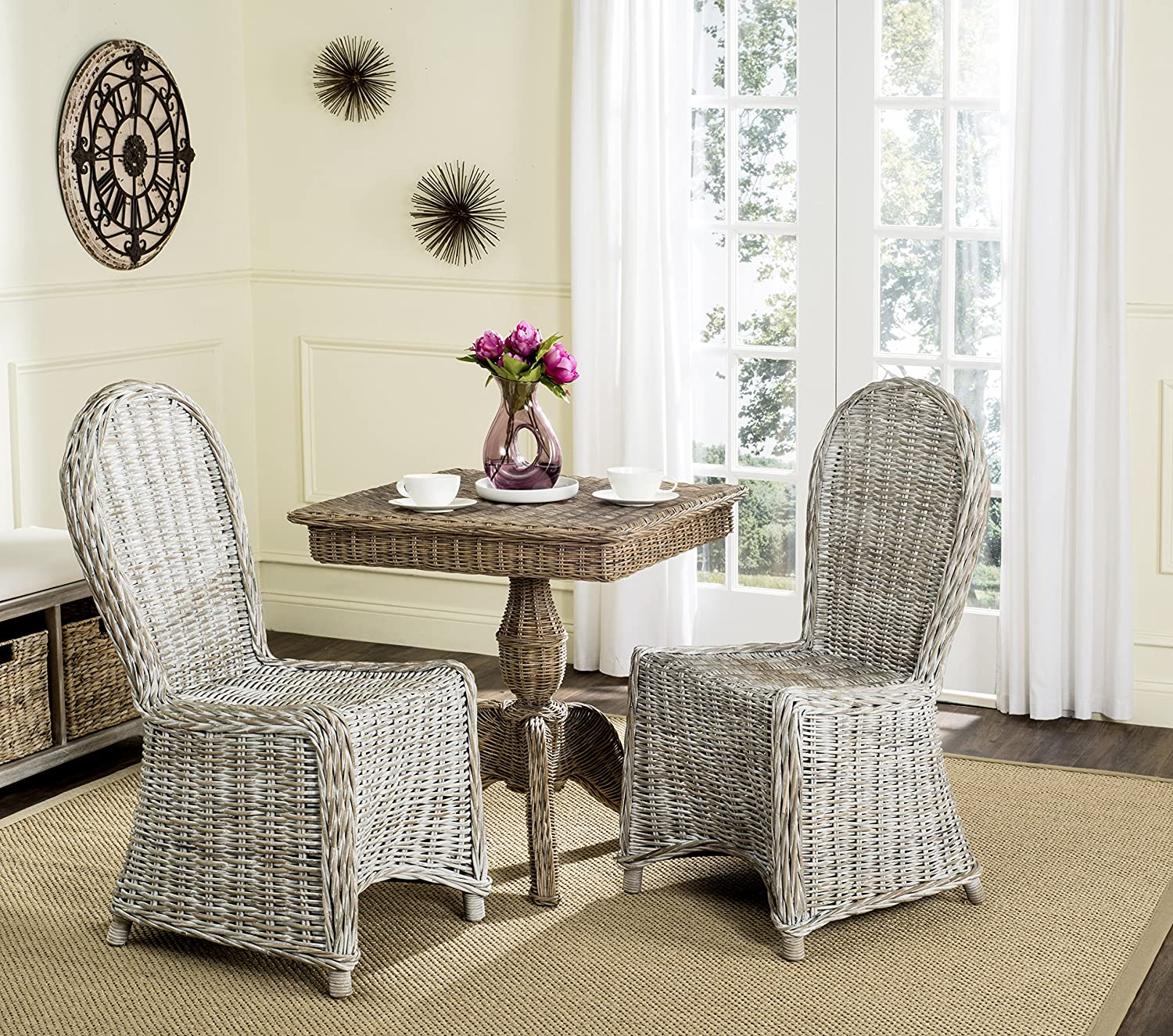 Safavieh Home Collection Idola White Wash Wicker Dining Chair Set of 2 , 19