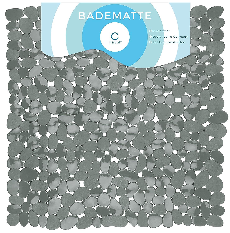 Circul, tappetino antiscivolo per doccia, 53x 53cm, colore: grigio, effetto pietra, moderno 53x 53cm