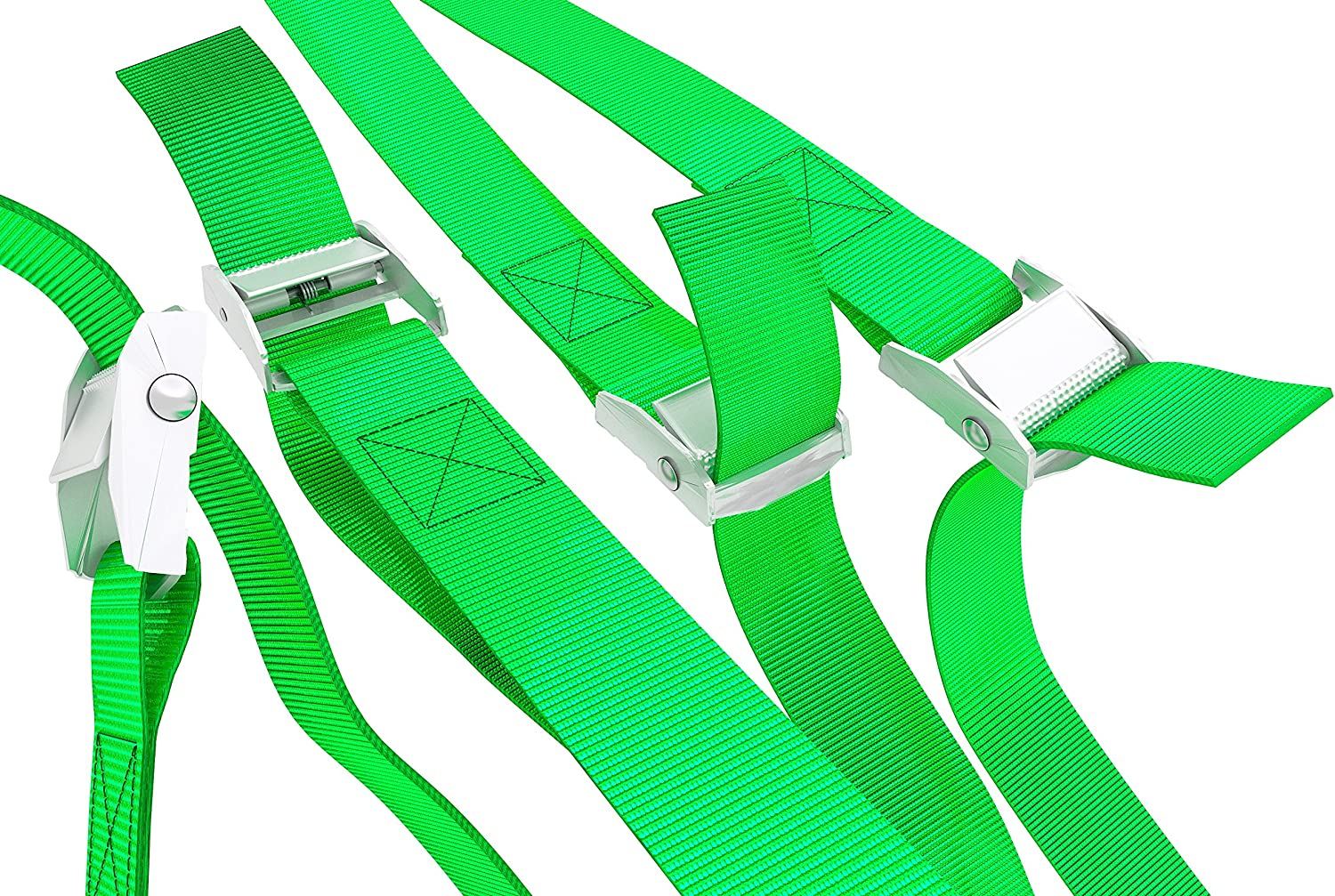 """Green WowThings! Kayak Securing Adjustable Cargo Straps for Roof Rack Canoe 1/""""x13Foot Up to 600lbs Long Tie Down Lashing Cam Lock Buckle 5 Pack"""
