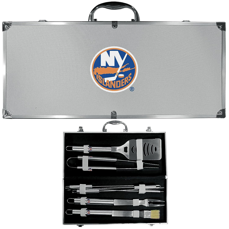 NHLユニセックス8 pcステンレススチールバーベキューセットW /メタルケース B073R4K93N 8 piece Tool Set|グレー|New York Islanders グレー 8 piece Tool Set